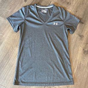 Under Armour Grey V Neck Shirt Size Medium